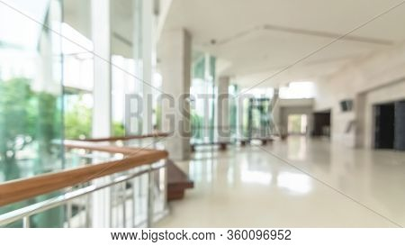 Hotel Or Office Building Lobby Blur Background Interior View Toward Reception Hall, Modern Luxury Wh