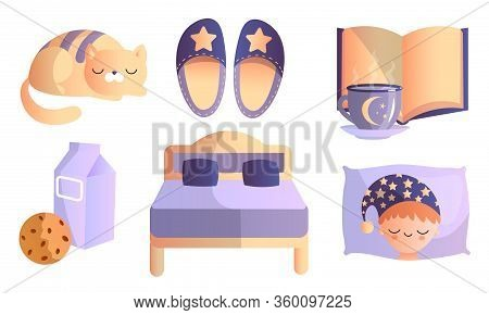 Set Of Different Things In Thematic Of Healthy Sweet Sleep. Vector Illustration In A Flat Cartoon St