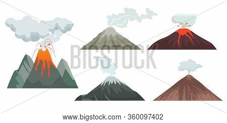 Volcano. Big Mountains Hills And Rocks With Nature Force Volcano Flame Magma And Lava. Travellers Da