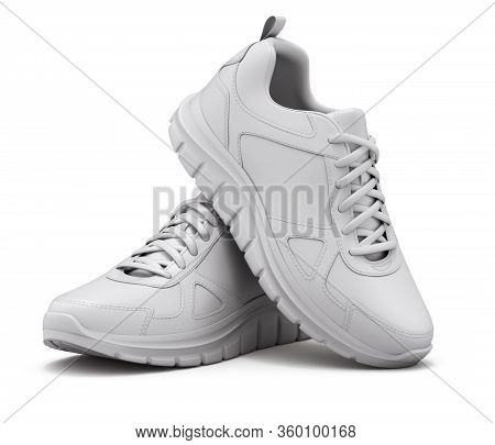 Clay Render Of Sport Shoes On White Background - 3d Illustration