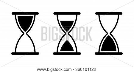 Hourglass Sand Glass Vector Isolated Icons. Vintage Black Sand Glass Icon. Countdown Clock Counter T