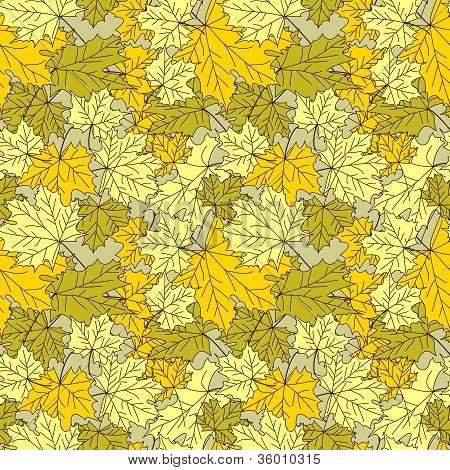 autumn vector seamless pattern of marble leaves poster