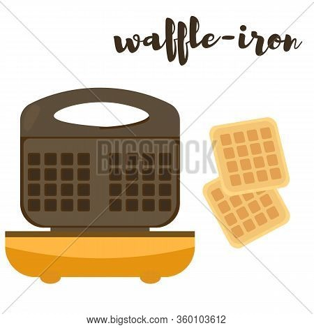 Waffle-iron For Making Belgian Waffles. Vector Illustration. Isolate On White Background