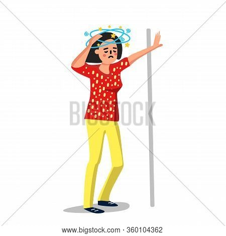 Dizziness Sick Young Woman Leaned Wall Vector