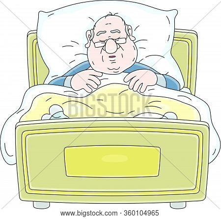 Funny Fat Man In Pajamas And Glasses Sleeping And Snoring Under A Warm Blanket In His Soft Bed At Ho
