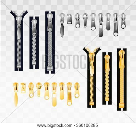 Metal And Plastic Zippers Set. Steel Zipper In Closed And Opened Positions. Clothes Accessory. Many