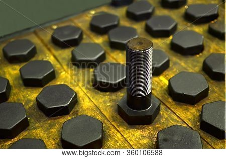 Background Of Screw Bolts, Internal Screw, Bolts Closeup, Many Screws. Factory Equipment And Industr
