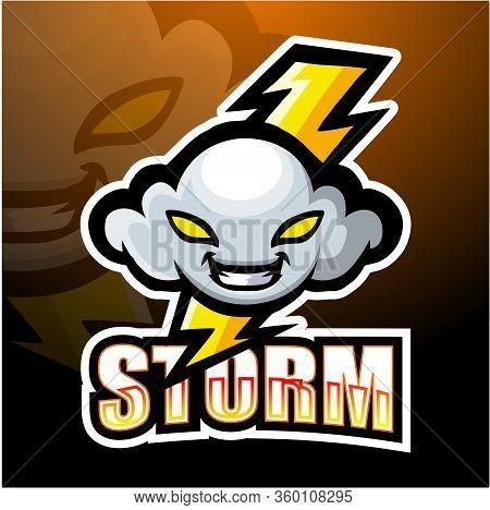 Storm Cloud Mascot In Esport Logo Design