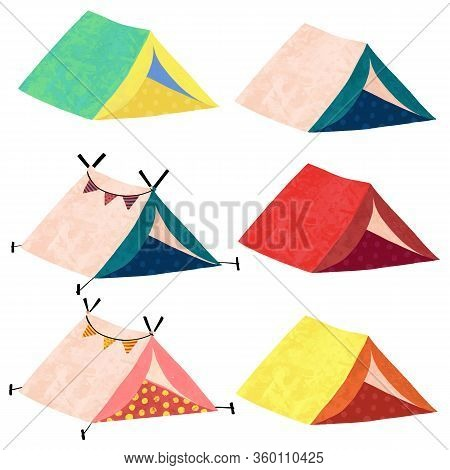 Camping Teepee Tents Vector Illustration. Icon Set Of Cute Hand Drawn Tents.