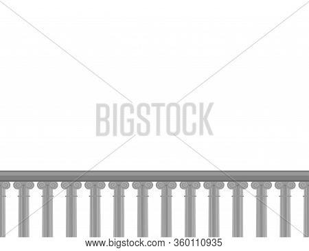 Realistic Vector Ancient Balcony Border. Seamless Border