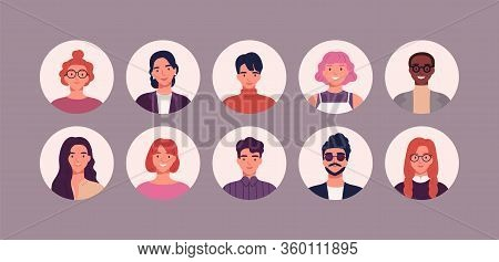 Bundle Of Different People Avatars. Set Of Colorful User Portraits. Male And Female Characters Faces