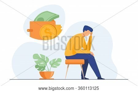 Depressed Sad Man Thinking Over Financial Problems And Debts. Businessman Broke, Needing Money, Havi