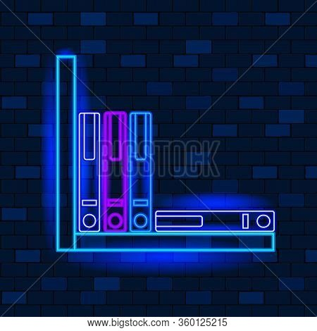 Vip Neon Icons Concept. Cute Vip Neon Office Binder On The Shelf On Dark Brick Wall Background. Tool