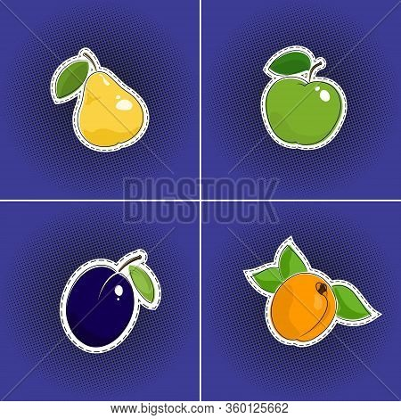 Set Of Fruits Sticker On A Purple Violet Pop Art Halftone Background, Pear And Apple, Plum And Apric