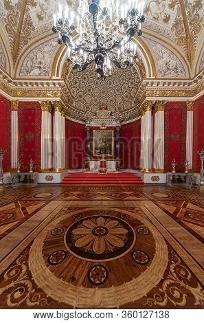 Saint Petersburg, Russia - 02 02 2016: The Throne Room Of The Last Tsar (tzar) Inside Of The Hermita