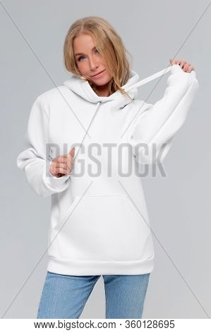 Woman In White Hoodie, Mockup For Logo Or Branding Design