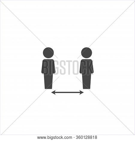 Vector Icon Need To Keep Distance Between People On White Isolated Background.