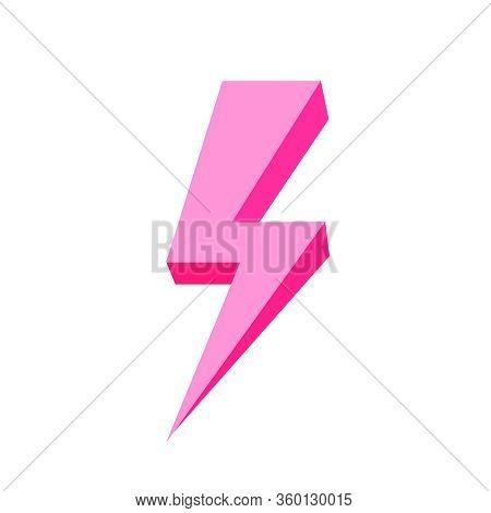 Pink Thunder Icon Isolated On White Background, Thunder Storm Symbol Pink Flat Lay, Clip Art Thunder