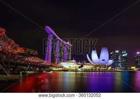 SINGAPORE CITY, SINGAPORE - FEBRUARY 19, 2020: Marina Bay Sands at night the largest hotel in Asia. It opened on 27 April 2010.