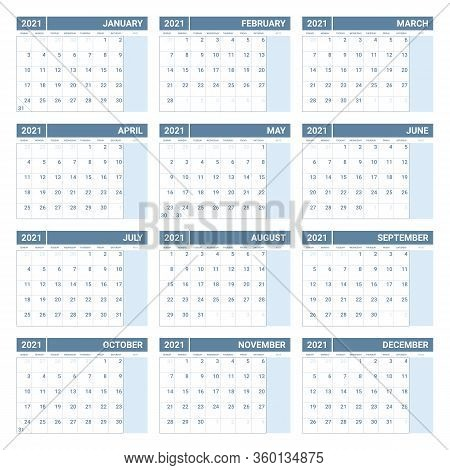 2021 Calendar Week Starts On Sunday. Printable 2021 Yearly Calendar Template In Simple Design.