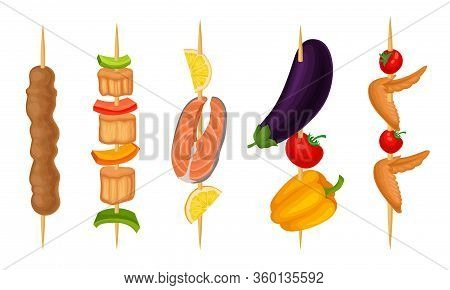 Meat Slabs And Sliced Vegetables On Skewers Or Wooden Sticks Cooked On Grill Vector Set