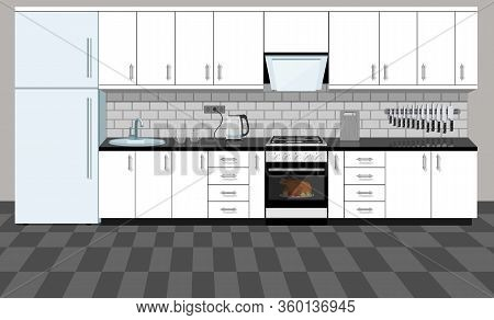Kitchen Interior With Furniture. Home Cooking Room With Kitchen Cabinets, Fridge, Oven, Microwave, H