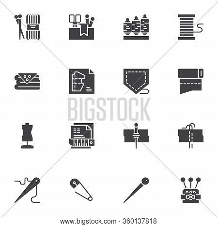 Sewing And Knitting Vector Icons Set, Modern Solid Symbol Collection, Filled Style Pictogram Pack. S