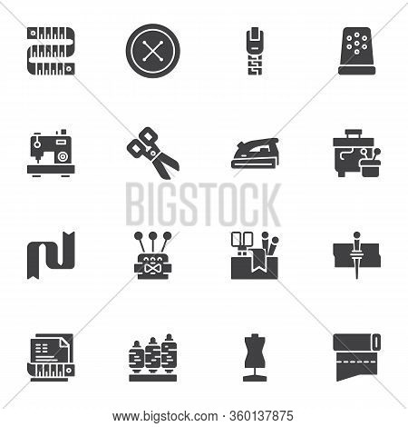 Sewing Equipment Vector Icons Set, Modern Solid Symbol Collection, Filled Style Pictogram Pack. Sign