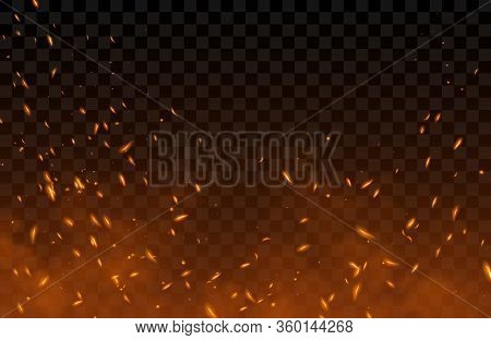 Smoke, Sparks And Fire Particles, Flying Up Embers And Burning Cinder. Vector Realistic Heat Effect
