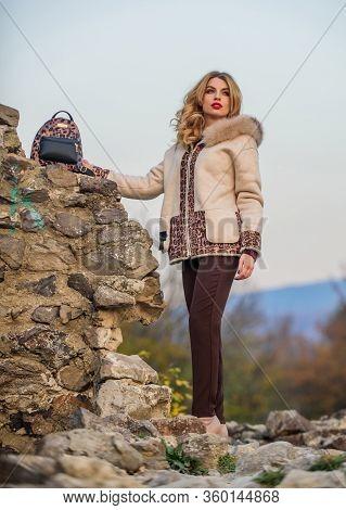 Fancy Chic Coat. Natural Wool Sheepskin Coat. Fur On Hood. Hit Of Season. Stay Warm And Fashionable.