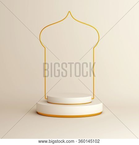 Islamic Background, Arabic Window On White Beige Background. Ramadan Kareem, Eid Al Fitr Adha, Islam