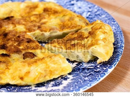 Homemade Spanish Omelet Called Tortilla De Patata, One Of The Most Typical Dishes Of Spanish Gastron