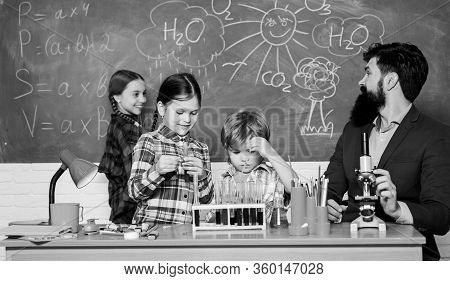 Science Is Always The Solution. Observe Reaction. School Chemistry Experiment. Explaining Chemistry