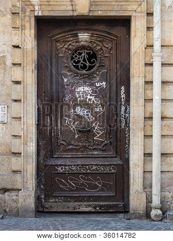 Vandalized Paris Doorway