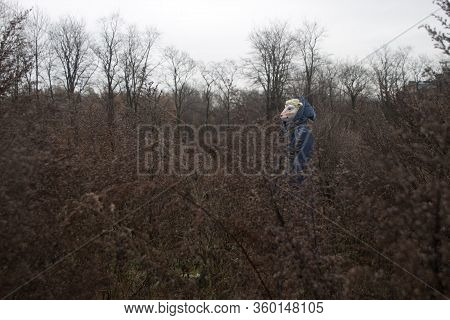 Human Figure With Sheep Head. Halloween Autumn Scene. Weird Photo