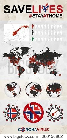 Infographic About Coronavirus In Norway - Stay At Home, Save Lives. Norway Flag And Map, World Map W