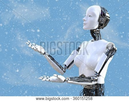 3d Rendering Of A Female Robot Looking At The Snow In The Air With Her Arms And Hands Out To Catch T