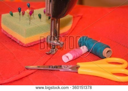 Sewing Still Life: Colorful Cloth. Sewing Kit Includes Threads Of Different Colors, Thimble And Othe