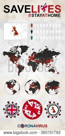 Infographic About Coronavirus In United Kingdom - Stay At Home, Save Lives. United Kingdom Flag And