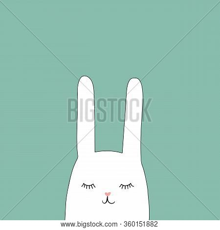Hand Drawn Doodle Cute White Easter Bunny With Funny Face Expression On Turquoise Background. Holida