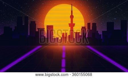 Beautiful City Evening, Synth Wave And Retro Wave, Vaporwave Futuristic Aesthetics. Ultraviolet, Glo