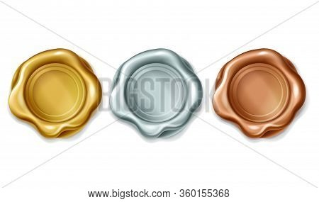 Gold, Silver, Bronze Wax Stamp Illustration, Isolated On White Background. Quality Guarantee Golden