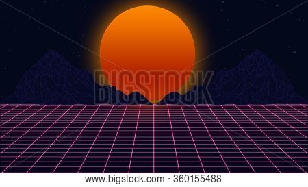 Beautiful Mountain Evening, Synth Wave And Retro Wave, Vaporwave Futuristic Aesthetics. Ultraviolet,
