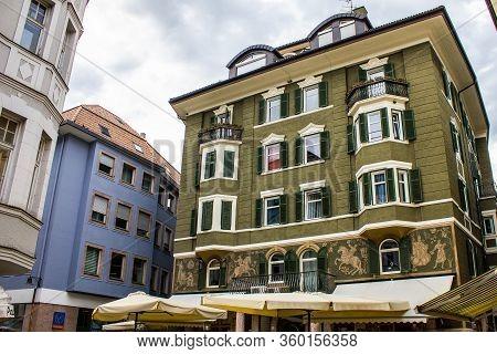 Bolzano, Italy - August 13, 2019: Traditional Building Facades In Bolzano (bozen), Italy.