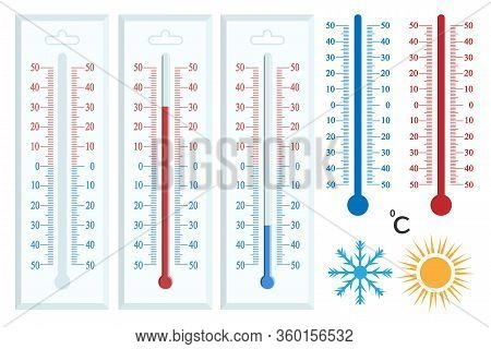 Vector Set Of Thermometers With Degrees. Celsius And Fahrenheit Meteorology Thermometers Measuring H