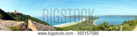 A Panoramic View Of The Scenic Landscape Of The Palm Beach And Barrenjoey Lighthouse In Sydney, Aust