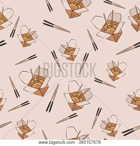 Seamless Vector Isolated Texture Of Wok And Sticks. Bright, Beautiful Background In A Modern Flat St
