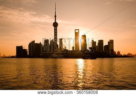 Skyline Of Pudong And Lujiazui At Sunrise Across The Huangpu River, Shanghai, China, Asia