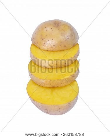 Raw Potato Sliced Full Of Nutritious Starch Isolated In White Background. Root Vegetables, Macro Pho