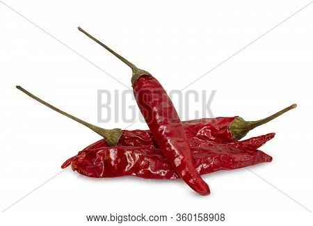Dried Red Chili Or Chilli Cayenne Pepper Isolated On White Background.clipping Path.